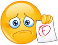 F grade emoticon disappointed showing a paper with failure Royalty Free Stock Image
