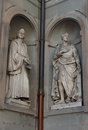 F. Guicciardini and Amerigo Vespucci. Statues in the Uffizi Gallery, Florence, Tuscany, Italy Royalty Free Stock Photo