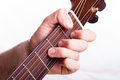 F major chord performed on acoustic guitar Royalty Free Stock Photos