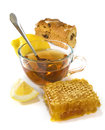 F tea, biscuits,lemon and honey Royalty Free Stock Photo