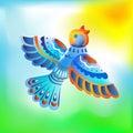 Fabelachtige multicolored geschilderde vogel Royalty-vrije Stock Fotografie
