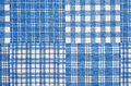 Fabric blue cell texture of the cotton with a checkered pattern Royalty Free Stock Image