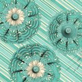 Fabric daisy tapestry doily tile Royalty Free Stock Images