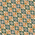 Fabric decorative background pattern in orange and green tones Royalty Free Stock Photography