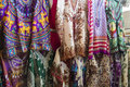 Fabric designs of displayed to entice customers Royalty Free Stock Image