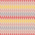 Fabric effect dense geometric design with hand drawn horizontal pastel stripes and accent coral colour. Vector seamless