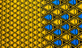 Fabric ethnic blue and yellow ornamental Stock Image