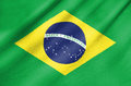 Fabric flag of brazil waving in the wind Royalty Free Stock Photo
