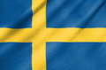 Fabric flag of sweden waving in the wind Stock Images