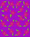 Fabric flower pattern purple s style flowers fill background image has texture and feel the flowers give a splashes of pink and Royalty Free Stock Image