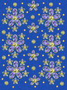 Fabric Flowers on Blue Specks Royalty Free Stock Photo