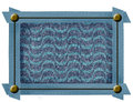 Fabric frame with metal buttons blue metallic decorations and blue background motif of waves Stock Image