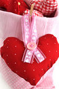 Fabric Heart on Pink Ribbon Stock Photo