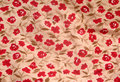 Fabric with red floral pattern Stock Image