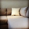 Fabric sofa with cushion corner modern furniture Stock Photo