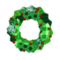 Fabric swatch Christmas wreath Royalty Free Stock Photos