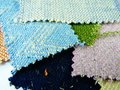 Fabric swatches in cool tones Royalty Free Stock Photo
