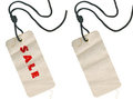 Fabric tags, empty and with Sale inscription Stock Photos