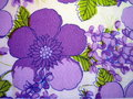 Fabric texture white with painted violet flowers Royalty Free Stock Photography