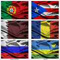 Fabric world flags collection 31 Royalty Free Stock Image
