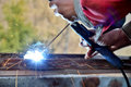 Welding work. Royalty Free Stock Photo