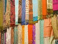 Fabrics at a market stall Royalty Free Stock Image