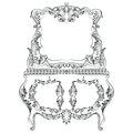 Fabulous Baroque Console Table and Mirror frame set. Vector French Luxury rich carved ornaments. Victorian wealthy Style