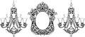 Fabulous Baroque Mirror and chandelier frame set. Vector French Luxury rich carved ornaments. Victorian wealthy Style furniture