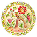 Fabulous bird. Decorative plate in Gzhel style. Russian painted