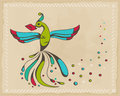 Fabulous bird holding an envelope vector illustration Stock Images