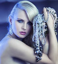 Fabulous blonde woman bouquet jewelary Stock Photos