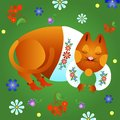 Fabulous red cat in a white shirt and boots is sleeping on the grass Stock Images