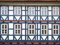 Facad half timbered house in duderstadt germany facade of a with blue wood Royalty Free Stock Photos