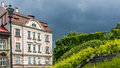 Facade of an ancient tenement at the stormy sky in bielsko biala silesian voivodship poland Stock Images