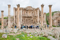Facade of Artemis temple in ancient town Jerash Stock Photos