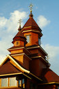 Facade of a building of wooden Catholic church Stock Photography