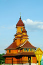 Facade of a building of wooden Catholic church Stock Image