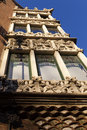 Facade of casa de terrades casa de les punxes in barcelona catalonia spain a famous modernist building by josep puig i cadalfalch Royalty Free Stock Photo