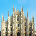 Facade of cathedral of milano italy duomo church city Royalty Free Stock Images