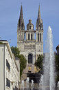 Facade cathedral Saint Maurice at Angers in France Stock Photo