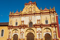 Facade of the cathedral of san cristobal de las casas chiapas mexico Royalty Free Stock Photography