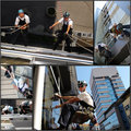 Facade cleaning collage of photographs showing workers washing the windows of a modern office building Stock Photo