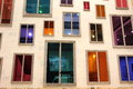 Facade of colourful windows Stock Photos
