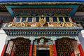 Facade detail of Tibetan Buddhism Temple in Sikkim, India