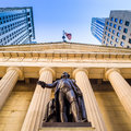 Facade of the Federal Hall with Washington Statue on the front, Stock Images