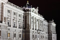 Facade of grandiose and majestic royal palace at night in madrid spain Stock Image