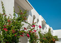 Facade of the hotel with flower decoration and clear blue sky Stock Photo