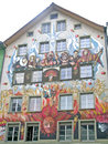The facade of a house in lucerne is city north central switzerland german speaking portion that country is capital canton Stock Photo