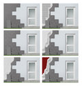 Facade insulation step by step Royalty Free Stock Image