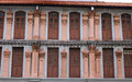 Facade of many old houses in Chinatown, Singapore Royalty Free Stock Photo